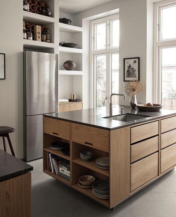 天板 ステンレス キッチン 木 イメージ