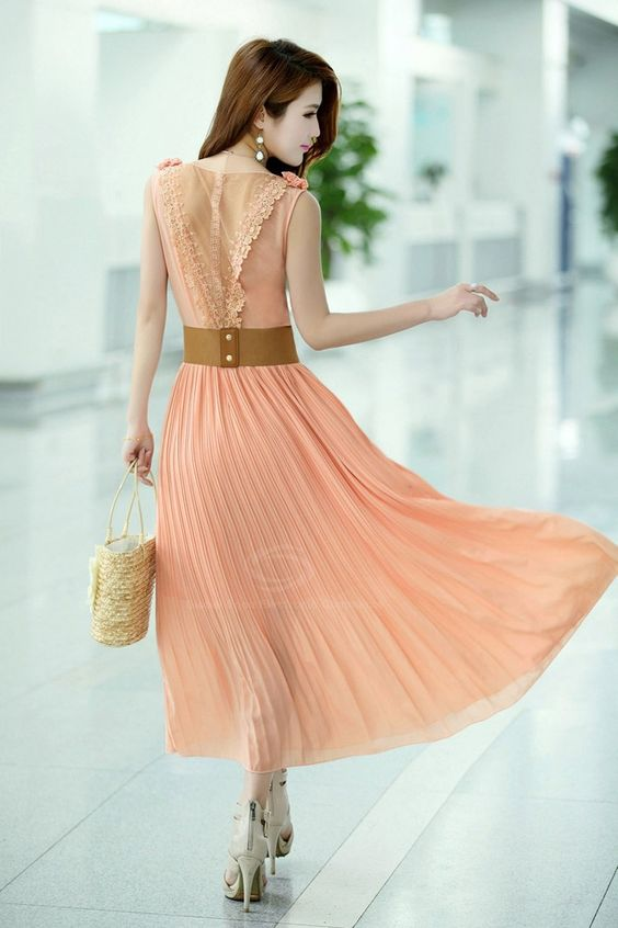 Lace Splicing - Pleated Sleeveless - Solid Color - Peach  Chiffon ...