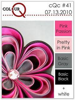 pinks, gray, black and white
