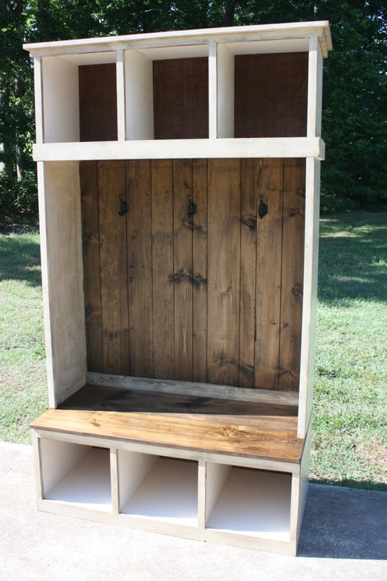 Distressed Foyer Bench : Hall tree locker foyer free shipping country rustic