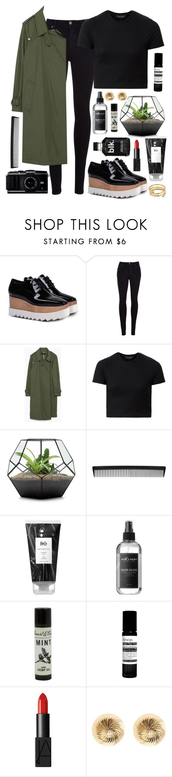 """stellamccartney x zara"" by annamausi ❤ liked on Polyvore featuring STELLA McCARTNEY, Citizens of Humanity, Zara, T3, R+Co, Earth's Nectar, Aesop, NARS Cosmetics, Warehouse and Ella Poe"