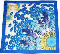 """Hermès Authentic 90 cm Silk """"FLEURS ET CARLINES II"""" Scarf Blue/White Floral"""