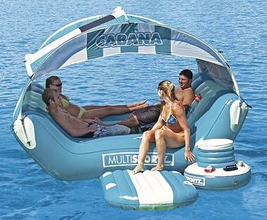 The cabana float includes a floating 16-quart cooler with cup holders, and a rope grommet for tethering. The spacious cabana float can accommodate 6 persons and is priced at $319.99.