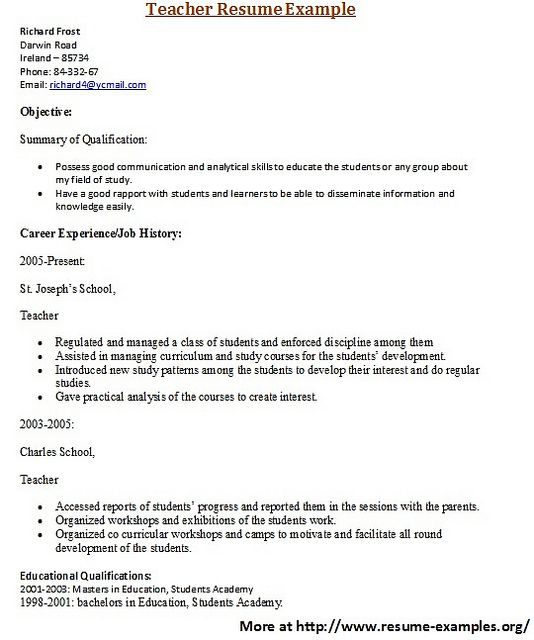 For more and various education resume examples visit: www.resume-examples.org/education-resumes.html     Find great tips for writing resumes and cover letters.  #resume, #cover letter, #writing tips,  #best resume,