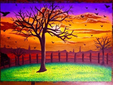 Simple Colorful Sunset Landscape Art With Birds In Oil Pastel Painting For Beginners Youtube Sunset Landscape Art Oil Pastel Paintings Landscape Art