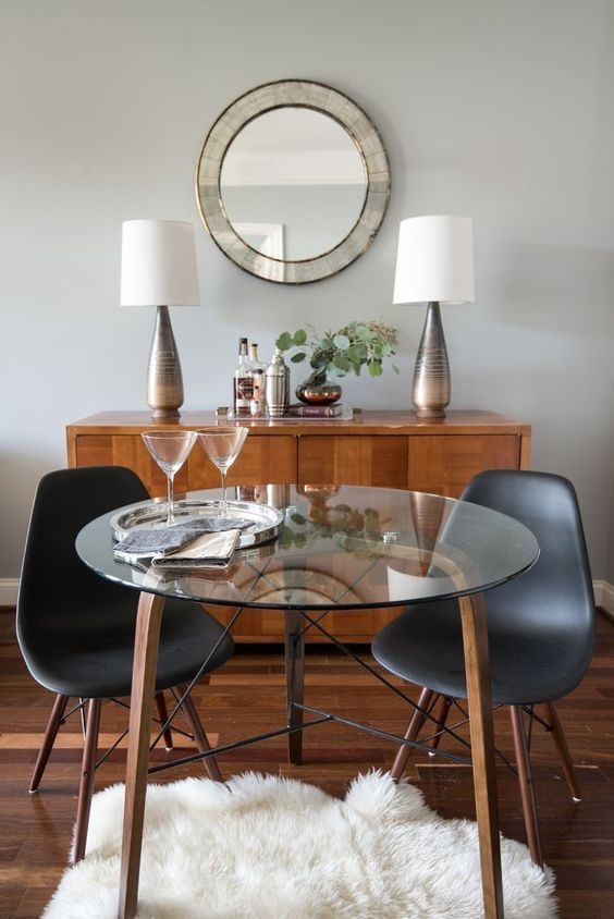 Five Hacks For Decorating Small Spaces Decorated Life Glass Dining Room Table Small Glass Dining Table Glass Round Dining Table