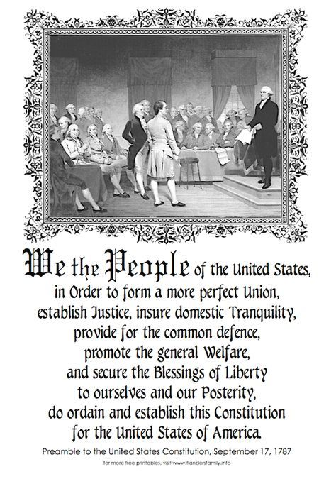 Free Printable Copy Of The Preamble To The Us Constitution From Www Flandersfamily Info Constitution Day United States History History Facts