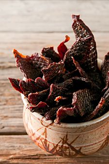 duck or goose jerky    Makes about 1 1/2 pounds.    Prep Time: 24 hours    Cook Time: 6-8 hours        3 pounds skinless, de-fatted duck or goose breast      2 cups water      2 tablespoons kosher salt      1/2 teaspoon Instacure No. 1 (optional)      1/4 cup Worcestershire sauce      1 teaspoon garlic powder      1 teaspoon dried thyme      1 teaspoon cayenne      1 teaspoon porcini powder      3 tablespoons brown sugar