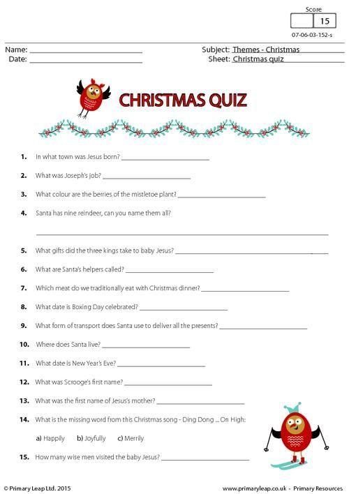 PrimaryLeap.co.uk , Christmas Fun Quiz Worksheet