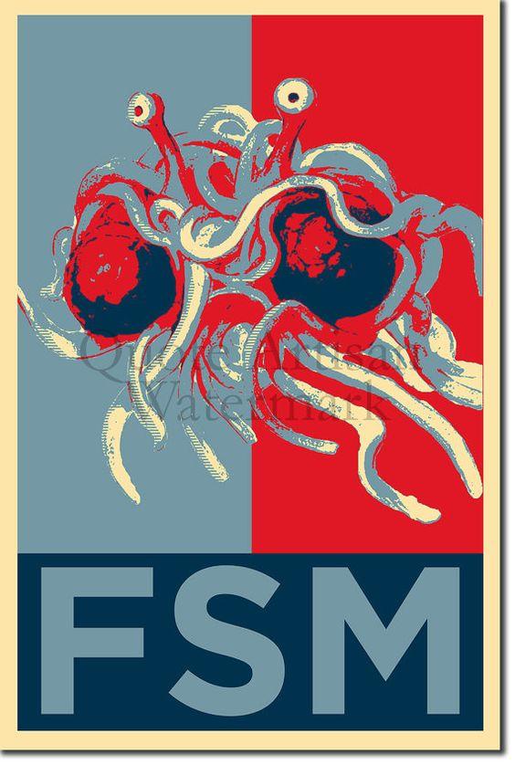 Flying Spaghetti Monster Original Kunstdruck - 12 x 8 Zoll Foto Poster Geschenk - Barack Obama Hope Parodie - Atheismus Atheist Richard Dawkins