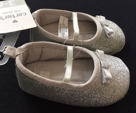 Carter's Silver Glitter Mary Jane Crib Shoes 3-6 Months Baby Girl size 2 Dressy #Carters #CribShoes