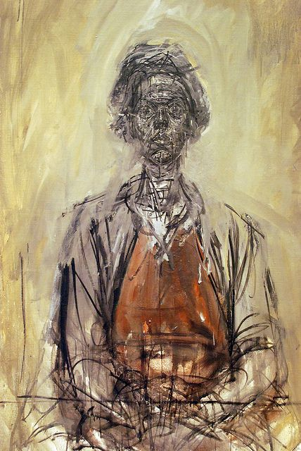 looking at this work, Giacometti has focused mainly on the face of the figure, giving it a highly detailed and three dimensional texture.