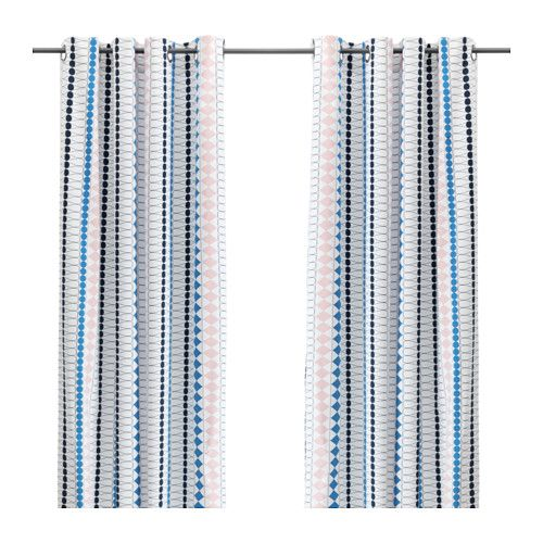 SANELA Curtains, 1 pair, light turquoise | Turquoise, Curtain rods ...