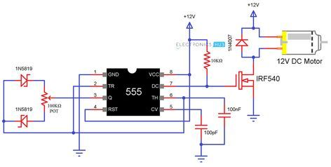 Speed Control Of Dc Motor Using Pulse Width Modulation Electronic Circuit Projects Electronic Schematics Circuit Projects