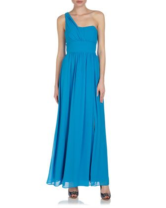 One-Shoulder Gown, Blue by Laundry by Shelli Segal at Last Call by Neiman Marcus.