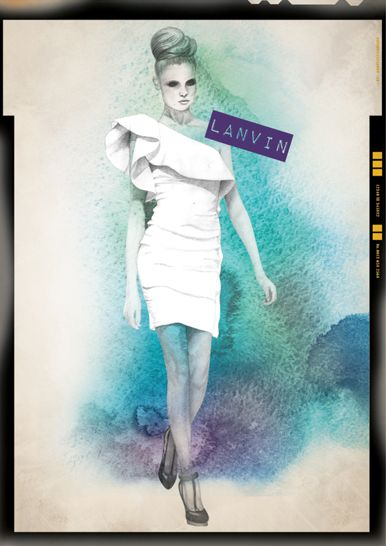 Runway Lanvin water color & ink illustration by camis gray