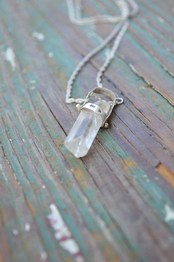 Quart und Sterling Silber Kette / / ein einer Art Halskette / / Sterling Silber Schmuck / / Boho Quarts Anhänger / / Handmade by Korey Burns by KoreyEBurns on Etsy