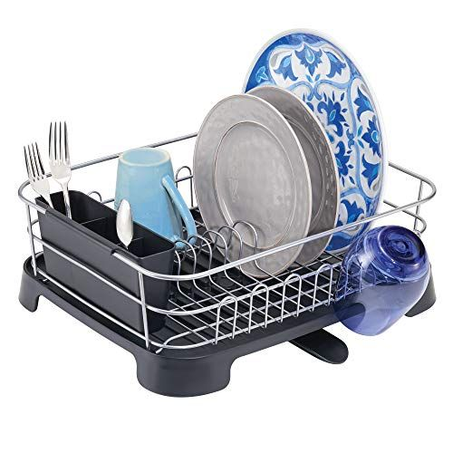 Mdesign Large Kitchen Countertop Sink Dish Drying Rack With Removable Cutlery Tray And Drainboard With Adjustable Swivel Spout 3 Pieces Silver Wire Black Pl Dish Rack Drying Large Kitchen Sinks Large