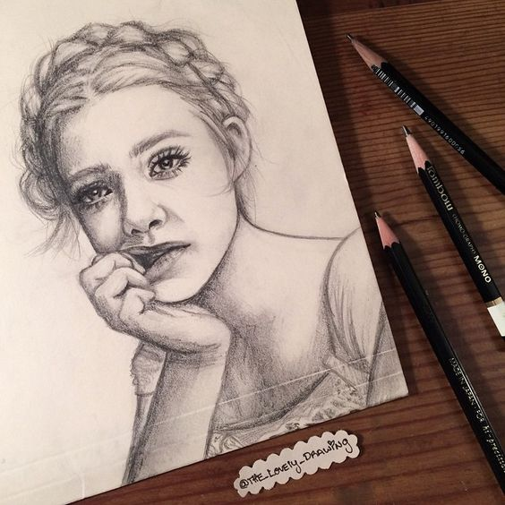 "Elle Fanning. 5"" x 7"" Manila folder. Graphite pencils. 2015. By: Marissa Asal (The_Lovely_Drawing on Instagram)"