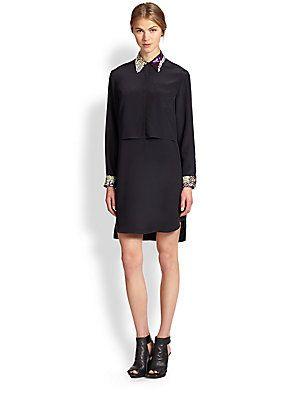 3.1 Phillip Lim Embellished Layered Silk Shift Dress
