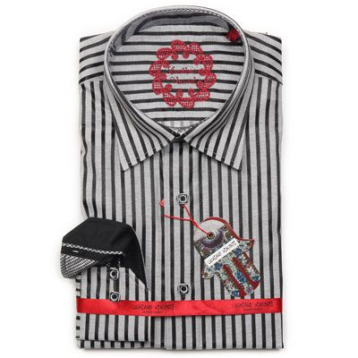 Luchiano Visconti Long Sleeve Black And Grey Stripe Sport Shirt