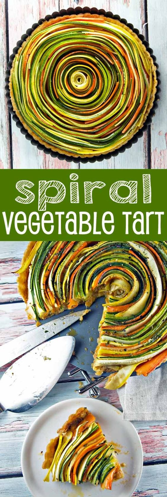 Thinly sliced summer vegetables are the visual star of this spiral vegetable…