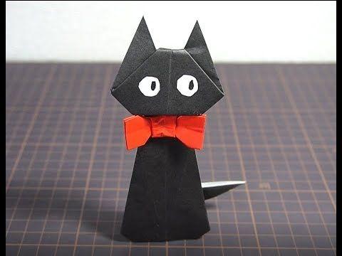 折り紙でキャラクターをジブリ魔女の宅急便のジジを折ってみた Youtube 折り紙 折り紙 ハロウィン ジブリ 魔女
