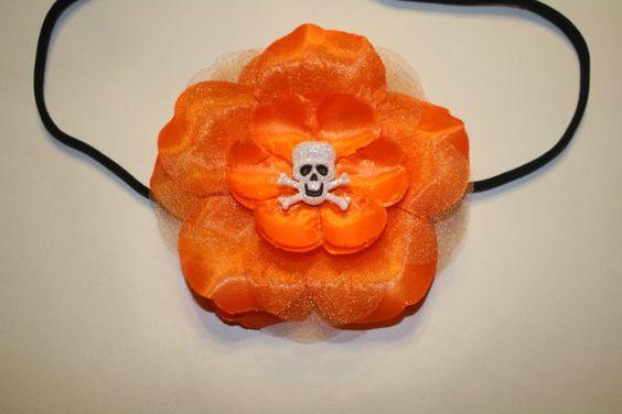 Funky glittery skeleton on orange flowerHalloween by crafts4love, $7.00
