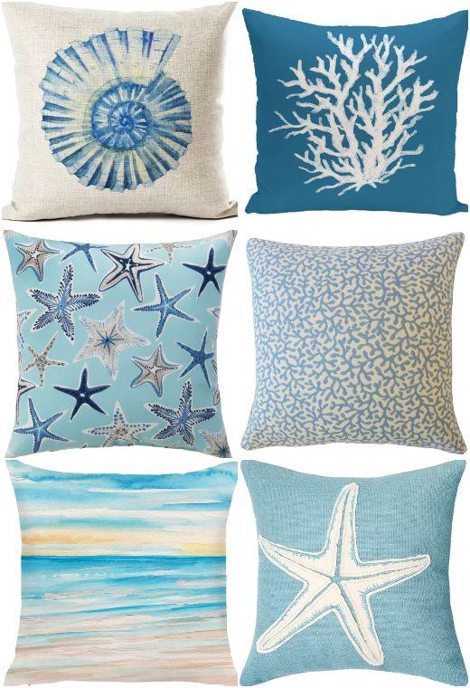 2pcs starfish seashorse seashell decorative cushion covers