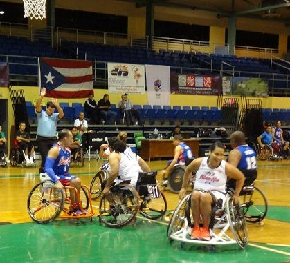 Trying out the new 3on3 rules. Games played during the Central American and Caribbean Wheelchair Basketball Championships in Puerto Rico, 2012