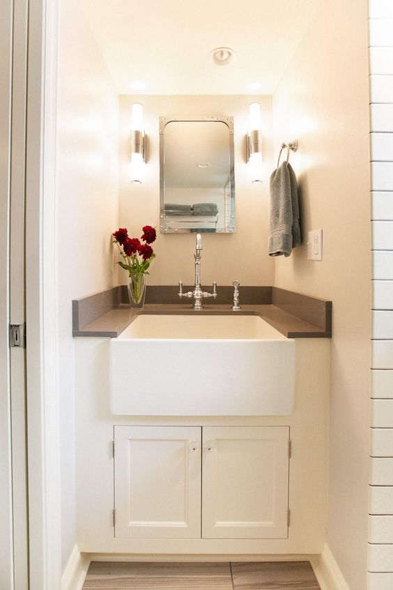 vanity sink small bathrooms and 1920s on pinterest. Black Bedroom Furniture Sets. Home Design Ideas