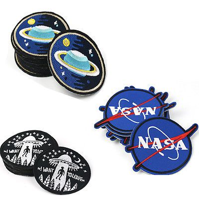 Sew On Badge Embroidered Space Nasa Star Embroidery Applique Planet Patch Iron
