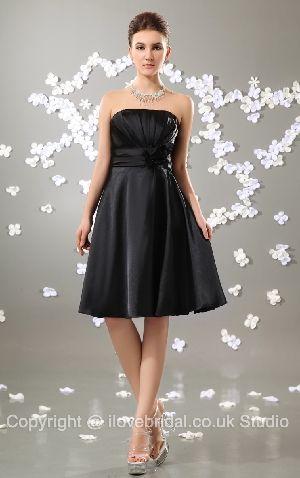 Vintage Ruched Strapless Empire Waist Black Short Bridesmaid Dress