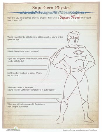 super hero physics physics worksheets and fun questionnaire. Black Bedroom Furniture Sets. Home Design Ideas
