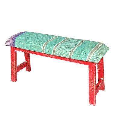 Look what I found on #zulily! Aqua Stripe Carpenter Bench #zulilyfinds