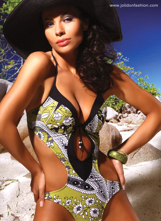 Olive Print Cut Out Monokini Swimsuit