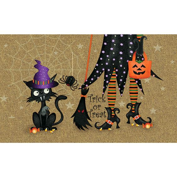 Halloween Door Mat Witch and Cat Outdoor Holiday Decor Gohsts Scary Polytop New…