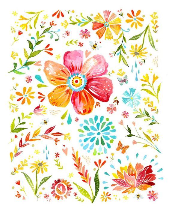 Ramilletes florales arte imprimir Pintura por thewheatfield: