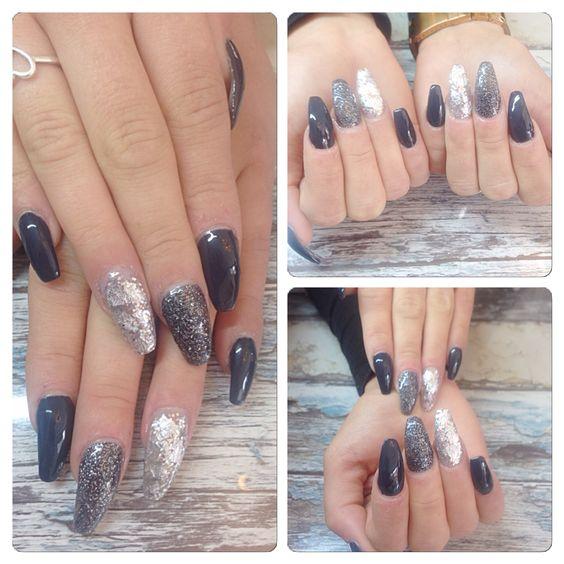 Zwart glitter nails