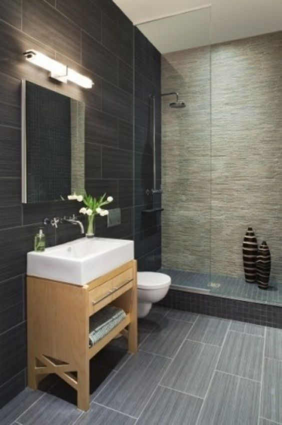 Cool Contemporary Tiled Bathroom Ideas With Black Wall Tile And Gray Tile Flooring Also Rustic But Modern Vanity Design Also White Sink And Modern Faucet. Bathroom Shower Inspiration   Design  The floor and Shower walls