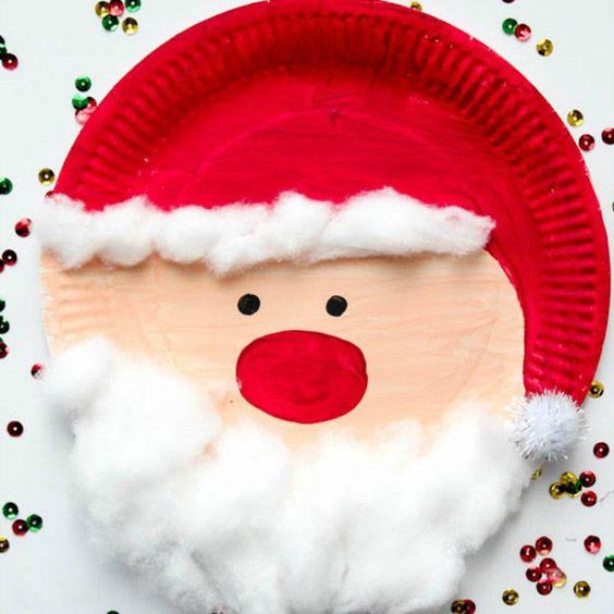 Lavoretti Di Natale Con Babbo Natale.Babbo Natale Realizzato Con Un Piatto Di Carta Della Tempere Rosse E Rosa E Dei Batuffoli Di Cot Decorazioni Fai Da Te Albero Natale Kids Crafts Bambini Furbi