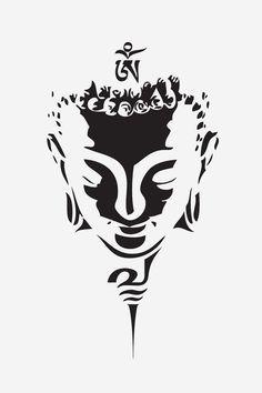 Buddha Head Drawing Tattoo Design Stencil