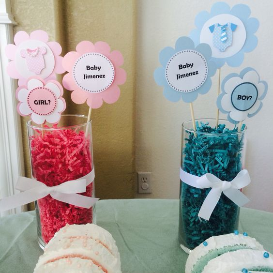 Diy centerpieces for gender reveal party gender reveal for Baby decoration games