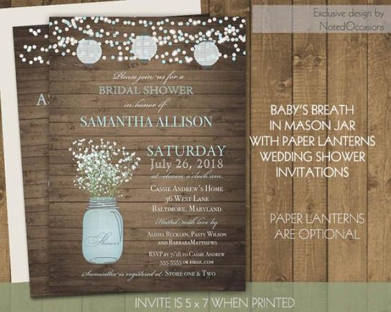 Mason jar, babys breath and Paper lanterns Bridal Shower Invitation. A printable wood background template bridal shower
