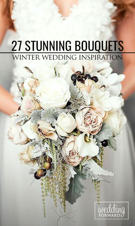 27 Stunning Winter Wedding Bouquets ❤ Cozy sweaters and half-length coats look chic with any wedding gown and create opportunity for stunning winter wedding bouquets. See more: http://www.weddingforward.com/winter-wedding-bouquets/ #weddings #bouquets