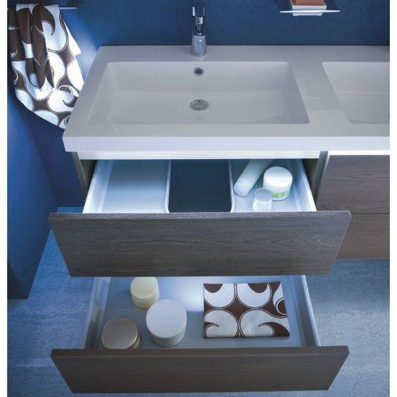Mobile bagno con doppio lavabo N18 Atlantic - finitura nobilitato Frassino 553 Tobak