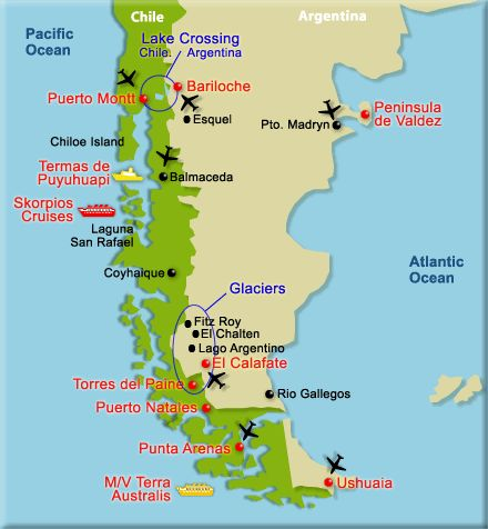 Patagonia Map Google Search Patagonia Chile Argentina - Argentina highlights map