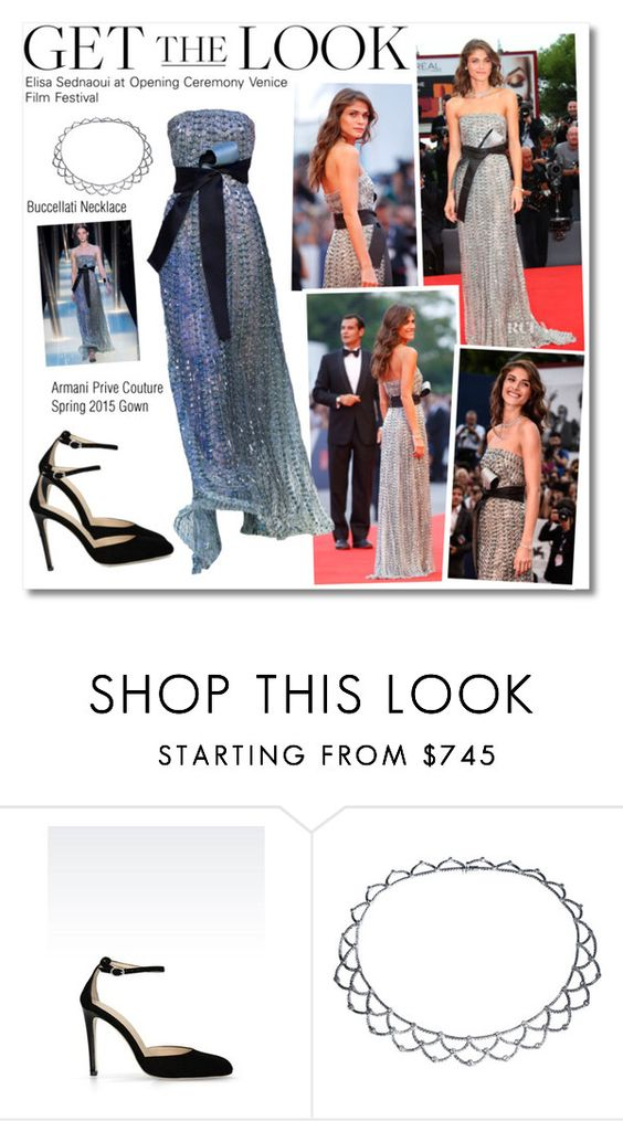 """""""Get The Look : Elisa Sednaoui"""" by igedesubawa ❤ liked on Polyvore featuring Armani Privé, Armani Collezioni and Buccellati"""