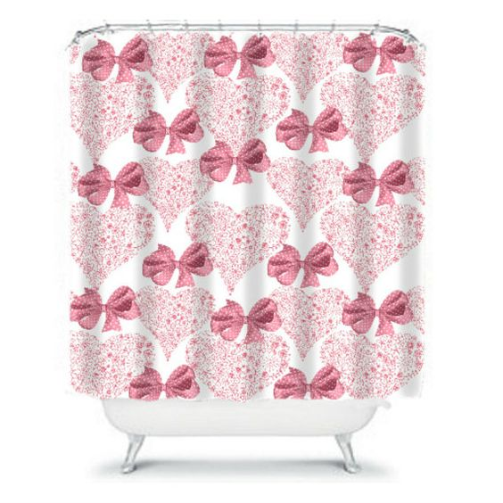 Shower Curtains Pink Bows And Hearts Polka Dots By Folkandfunky Pink Bow Pink Shower Curtain