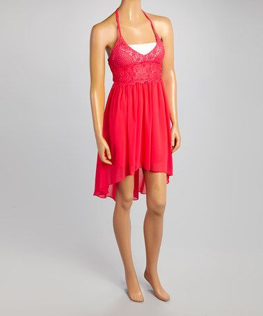 Another great find on #zulily! Coral Crocheted Hi-Low Halter Dress #zulilyfinds